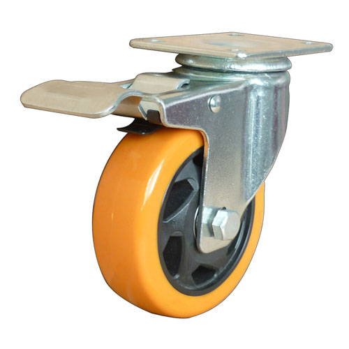 Yellow medium duty swivel caster with total brake